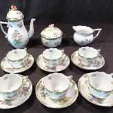 Herend Tea Set for 6 with Pot Saucers Cream Sugar and Lids