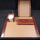 HERMES 4 pc Desk Set- Note Pad Pen Paper Tray Blotter & Pen Tray with Cover