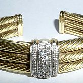 Solid 14k Gold David Yurman 3 Row Cable Bracelet with Diamonds